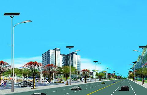 太阳能道路灯参数   高度:6-11m,灯杆热镀锌后喷塑处理   系统